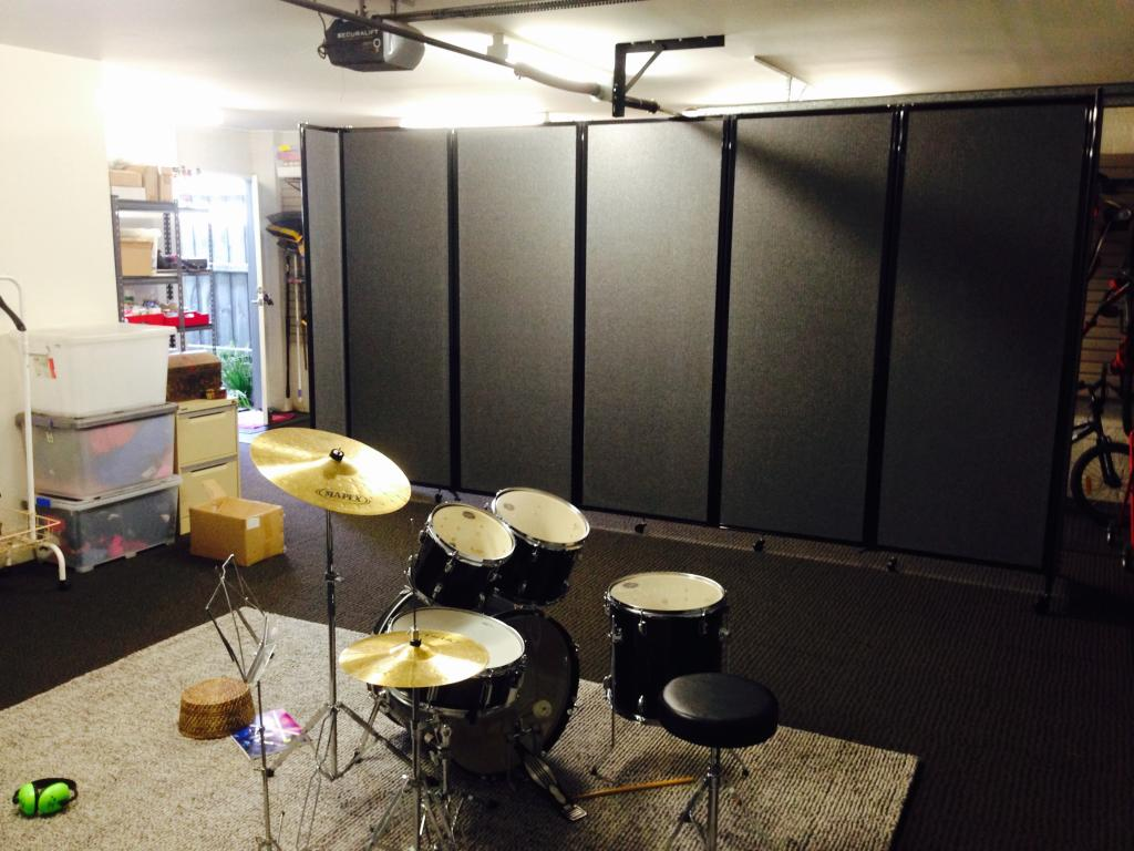 Acoustic Partition Dividing converted garage to drum room