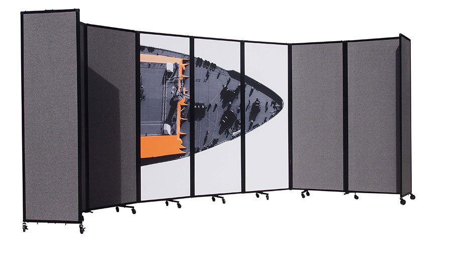 Charcoal Custom Designed 360 Portable Room Divider for Office - Portable Partitions