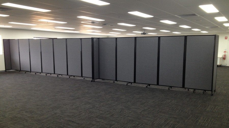 Charcoal Fabric Room Divider for Conferences - Portable Partitions