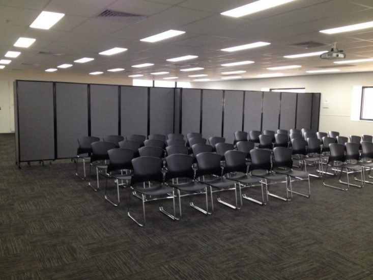 Charcoal Fabric Room Divider for Conferences - Chairs - Portable Partitions