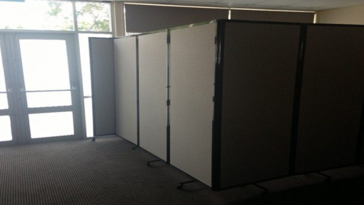 Charcoal Room Divider 360 set in L shape creating corner office - Portable Partitions
