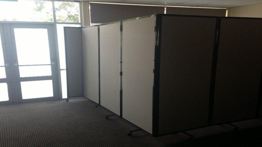 Charcoal Room Divider 360 set in L shape creating corner office- portable partition