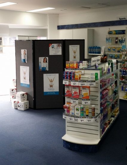 Private consulting area made with privacy screen at Long Jetty Pharmacy - Portable Partitions