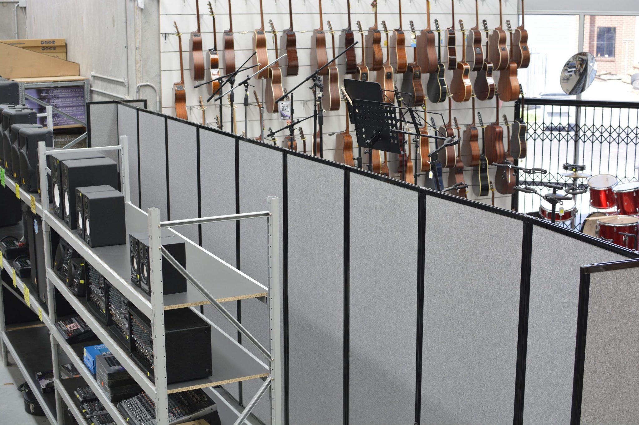 Mobile Dividers in musical retail store - Portable Partitions