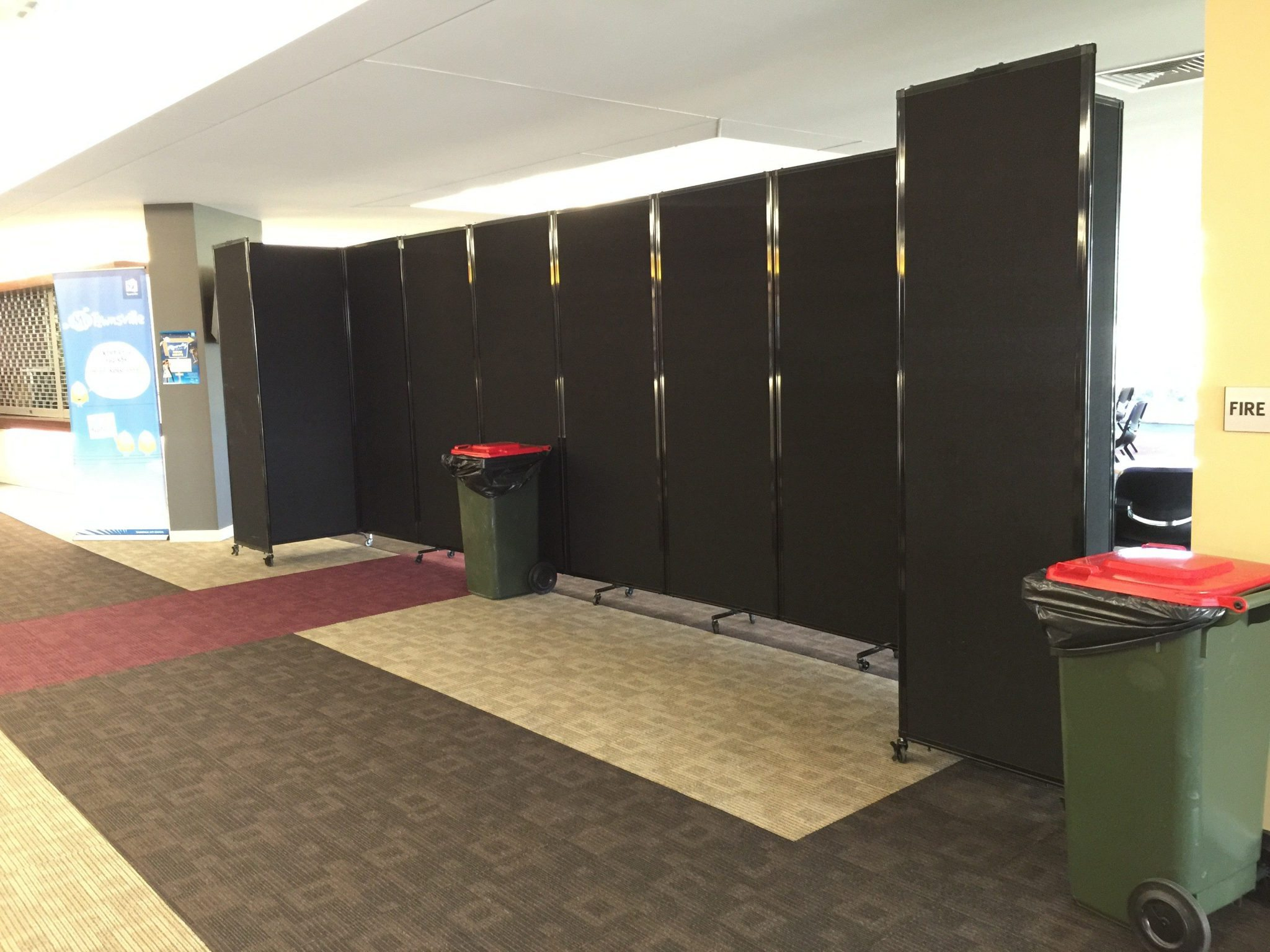 Black polycarbonate portable room divider- portable partition