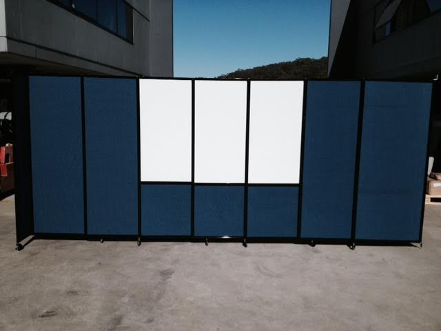 blue temporary wall with custom whiteboard - Portable Partitions