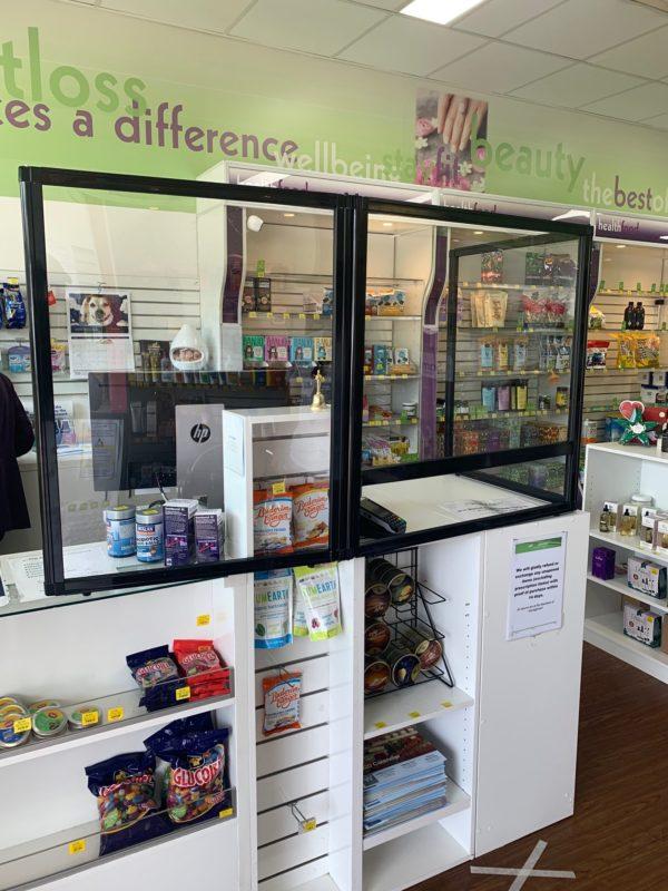 3 panel perpex screen L shape pharmacy