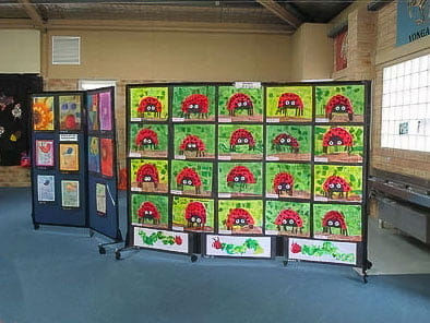 Project work displayed on Room Divider at Sydney school classroom