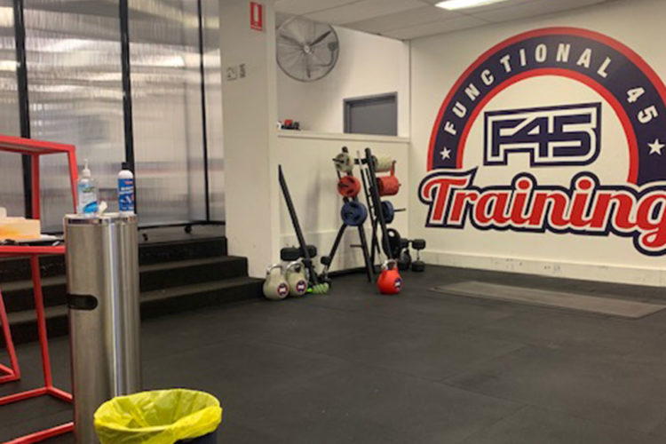 F45 Gym Use Portable Partitions To Divide Room And Allow More Members To Train - Portable Partitions Australia