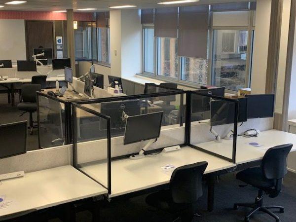 Office desk freestanding Sneeze Guard U Shape