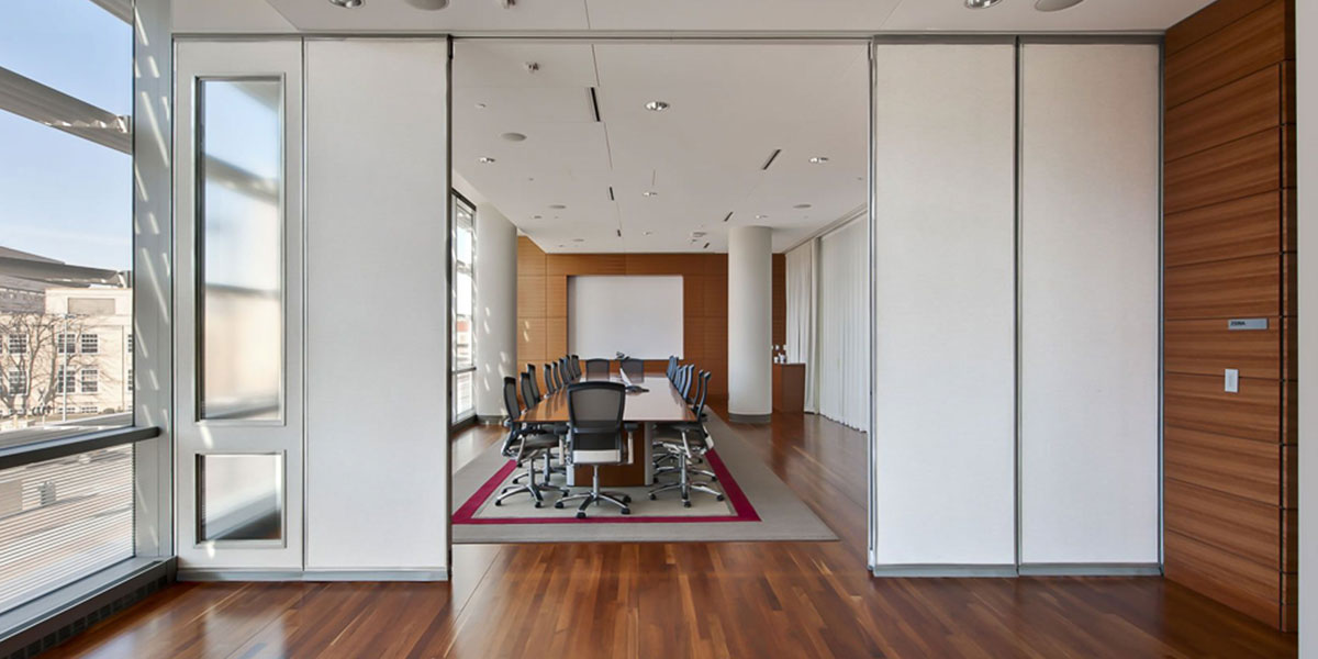 Floor-to-ceiling office partition walls