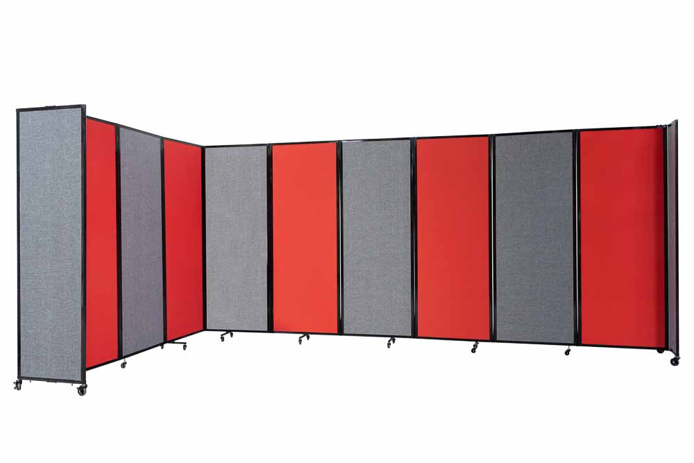 Black fabric acoustic portable room divider for noise reduction